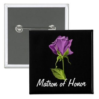 Purple Rose on Black Button