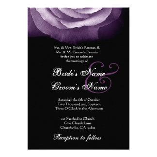 PURPLE Rose Petals Wedding Invitation
