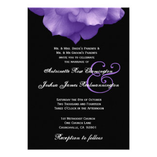 PURPLE Rose Petals Wedding Invitation F202