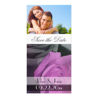 """Purple Rose  /photo  """"Save the Date"""" Photo Card Template"""