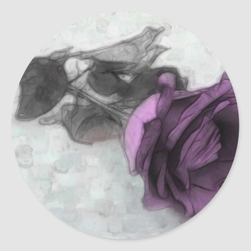 Purple Rose Round Stickers