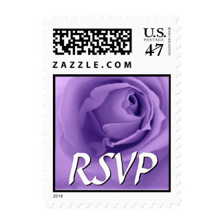 PURPLE Rose RSVP Wedding Stamp