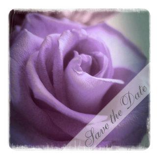 "Purple  Rose Save the Date 5.25"" Square Invitation Card"