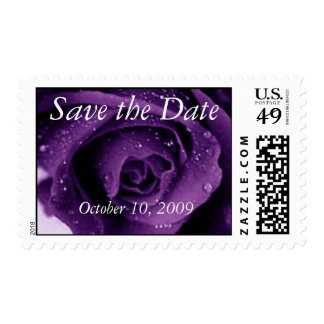 Purple Rose Save the Date Postage Stamp