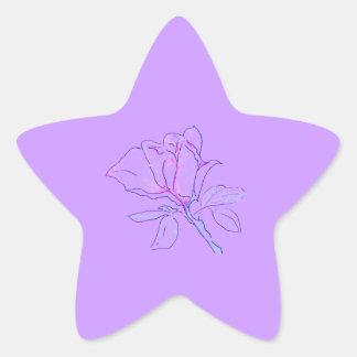 Purple Rose Star Star Stickers