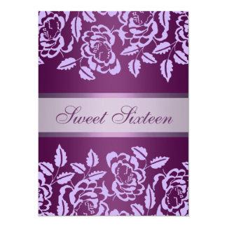 Purple Rose Sweet16 Birthday Invite