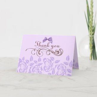 Purple Rose Thank You Card card