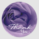 PURPLE Rose - Thank You Envelope Seal Round Stickers