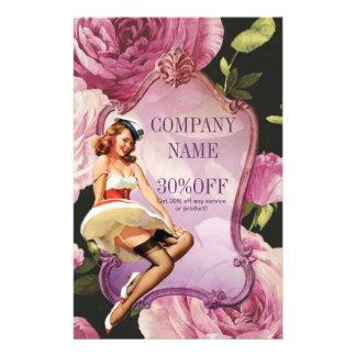 "purple rose vintage girly makeup artist 5.5"" x 8.5"" flyer"