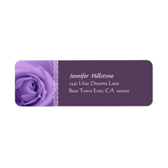 PURPLE Rose Wedding Address Label