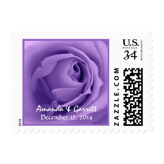 Purple Rose Wedding Bride and Groom V3 Postage