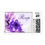 Purple Rose Wedding RSVP Postage Stamp