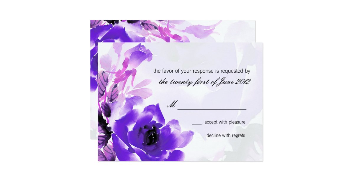 Purple Rose Wedding Invitations: Purple Rose Wedding RSVP Response Card