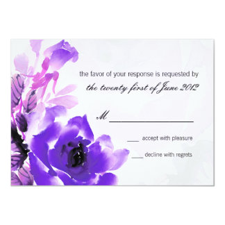 Purple Rose Wedding RSVP Response Card