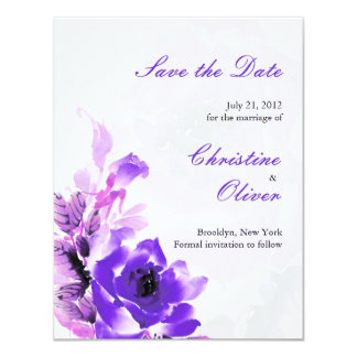 Purple Rose Wedding Save the Date Card