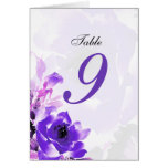 Purple Rose Wedding Table Seating Number Cards