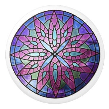 kellygalloway Purple Rose Window Ceramic Knob