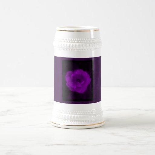 Purple Rose. With Black and Dark Purple. Coffee Mugs