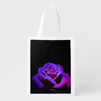 Purple Rose With Water Drops on Black Background Grocery Bag