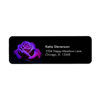 Purple Rose With Water Drops on Black Background Label
