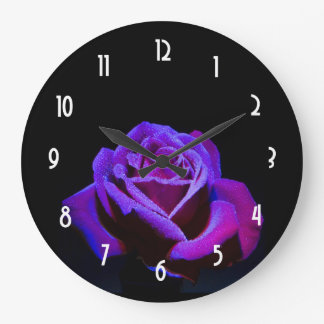 Purple Rose With Water Drops on Black Background Large Clock
