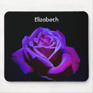 Purple Rose With Water Drops on Black Background Mouse Pad