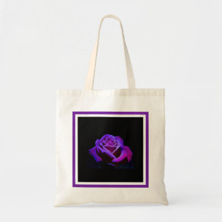 Purple Rose With Water Drops on Black Background Tote Bag