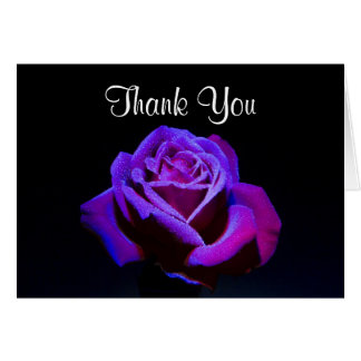 Purple Rose With Water Drops Thank You Card