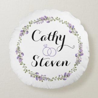 "Purple Rose Wreath Round Throw Pillow 41 cm (16"")"