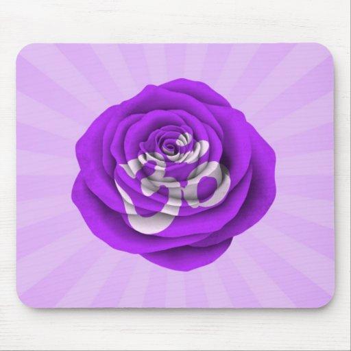 Purple Rose Yoga Om Mousepads