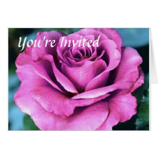 Purple Rose, You're Invited Greeting Card