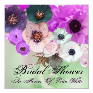 PURPLE  ROSES AND ANEMONE FLOWERS BRIDAL SHOWER CARD