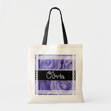 Beach Themed PURPLE Roses and Lace - Name Bag for Mom