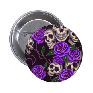 Purple Roses and skulls Button