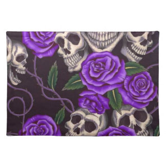 Purple Roses and skulls Cloth Placemat