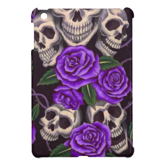 Purple Roses and skulls Cover For The iPad Mini