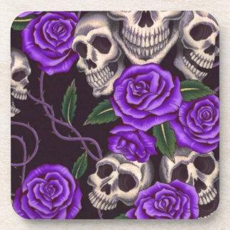 Purple Roses and skulls Drink Coaster