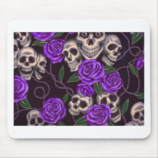 Purple Roses and skulls Mousepads