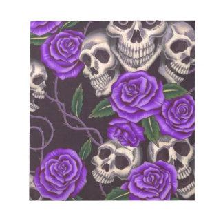 Purple Roses and skulls Memo Note Pad