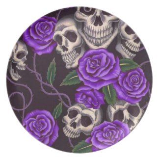 Purple Roses and skulls Party Plate