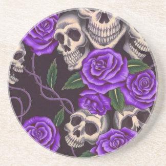 Purple Roses and skulls Sandstone Coaster