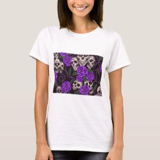 Purple Roses and skulls T-Shirt