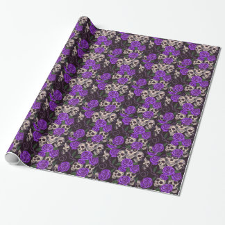 Purple Roses and skulls Wrapping Paper