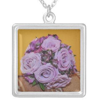 Purple roses bouquet necklaces