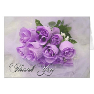 Purple Roses Bouquet Thank You Note Card