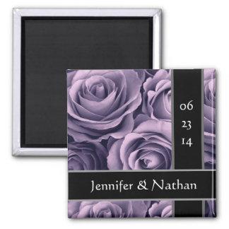 Purple Roses Bride Groom Wedding Magnet
