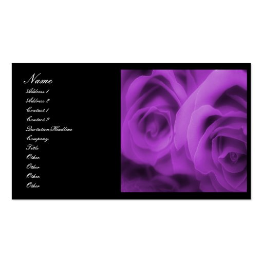 Purple roses business card zazzle for Purple business cards
