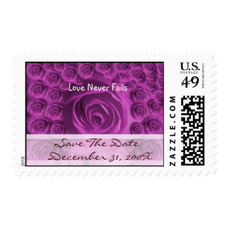 Purple Roses Christian Wedding Save the Date Postage