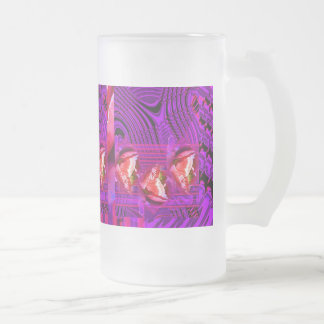 Purple roses dream frosted glass beer mug