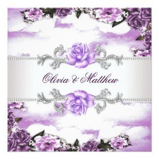 Purple Roses Lavender Purple White Cloud Wedding Invitations